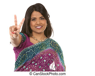 indian woman - pretty indian woman showing peace on white...