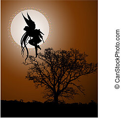 Fairy moonlight vector illustration