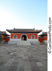 temple gate, in China - solemn architecture landscape -...
