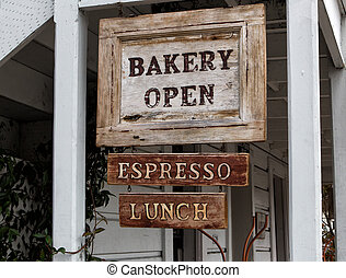 Bakery Open Sign - Worn Wood Bakery Open Sign