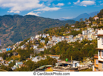 Gangtok Buildings Hillside Landscape Hill Station -...