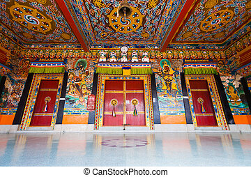 Rumtek Monastery Entrance Doors Ceiling Low H - A low angle...