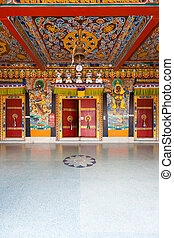 Rumtek Monastery Entrance Doors Ceiling V - The beautifully...