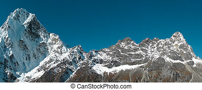 snowy mountain panorama - a mountain panorama fron the Nepal...