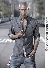 Fashionable male model - Fashion portrait of a great looking...