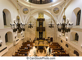 the Hurva synagogue in Jerusalem - JERUSALEM - MARCH 04:...