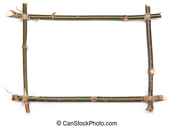 frame - twig frame over white background