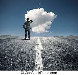 homem negócios, segue, direita, maneira