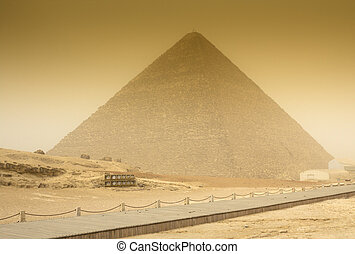 Cheops pyramid in sandstorm