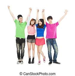 happy  young group standing with hands up together