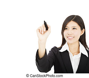 young business woman drawing on the white background