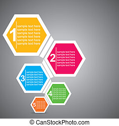 colorful infographic - colorful hexagon infographic stock...