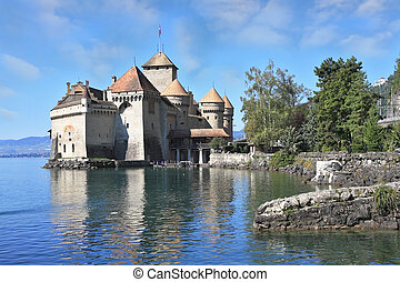 The castle Chillon on Lake - Magnificent medieval castle...