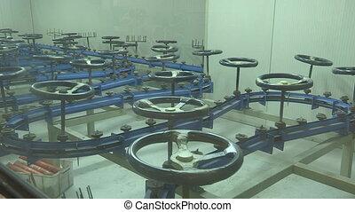 Steering wheels on a conveyor
