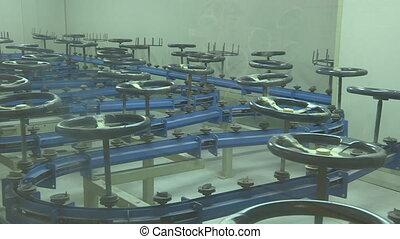 Steering wheels moving on conveyor