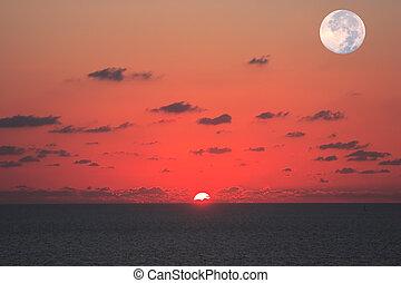 en, mismo, tiempo, Ver, sol, luna