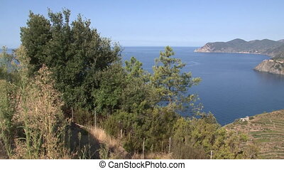 Cliffs of the Cinque Terre - Panoramic view of cliffs and...