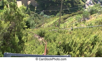Rack-rail cart down steep hillside - Rack-rail cart slowly...