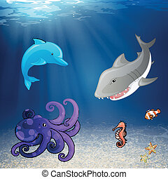 Vector Sea Creatures - Vector Illustration of Sea Creatures