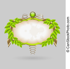 Design of a fresh leaves wreath vector with gold...