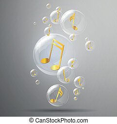 Vector Bubbles and Golden Music Notes in it - Vector...