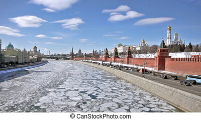 Moscow Kremlin during an ice drift across the Moskva River