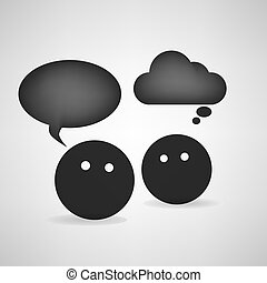 Black head round talk Concept speech bubbles