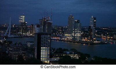 View of Rotterdam from height of birds flight at night