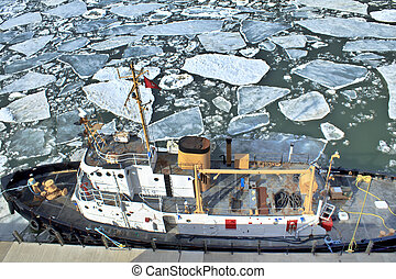 Icebreaker - Bird%u2019s eye view of big ship moored to the...