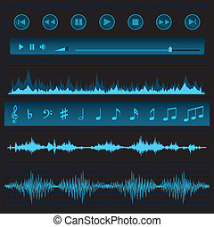 Notes and sound waves Music background