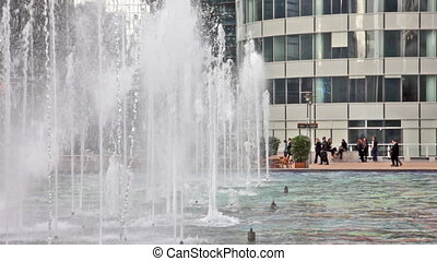 PARIS - OCTOBER 2:  La Defense, Fountains on Oktober 2, 2012 in Paris, France. Defense is most important business district of Paris.
