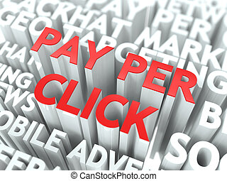 Pay Per Click (PPC) Concept. The Word of Red Color Located...