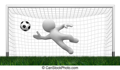 3d goalkeeper - 3d abstract white goalkeeper jump to get the...