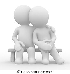 Love and care - 3d cute lovers sit bosom and are happy