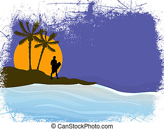 Summer holidays - Vector illustration of a wake boarder on...