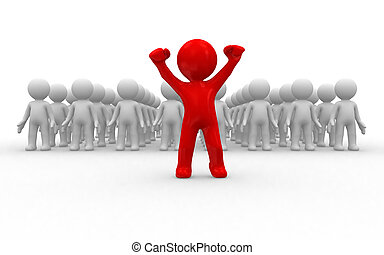Volunteer - One 3d human stand out of the crowd