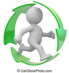 Recycle please - 3d human run with an ecology symbol