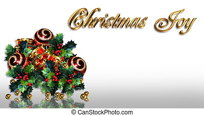 Christmas border holly and ornament
