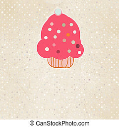 Background with cupcake and polka dot. EPS 8