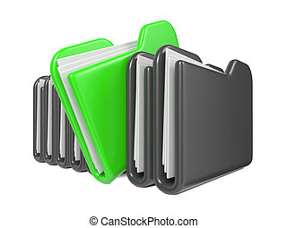 Row of Folders. Isolated on White Background.