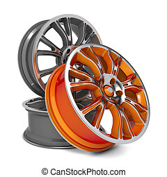 Car Rims. Isolated on White Background.
