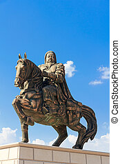 Statue of Genghis Khan at the Mausoleum, Ordos, Inner...
