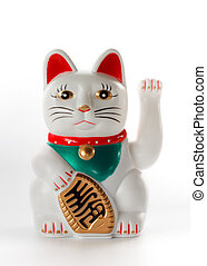 White lucky cat, Maneki-neko, on white background