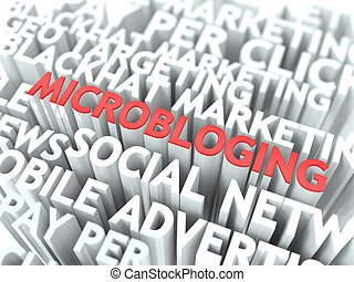 Microbloging Concept. The Word of Red Color Located over...