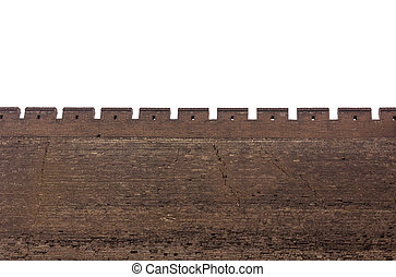 Town wall with merlons and arrow loops in China - Town wall...