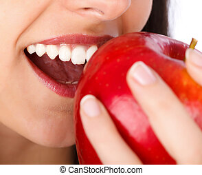 Love Eating Apple - Beautiful natural teeth biting a big...