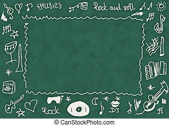 Doodle music, school chalkboard