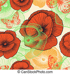 Seamless pattern with red poppies and butterflies,...