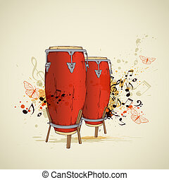 Red drums and notes - Music grunge background with red drums...