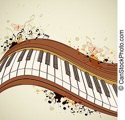Piano and notes - Music grunge background with piano and...